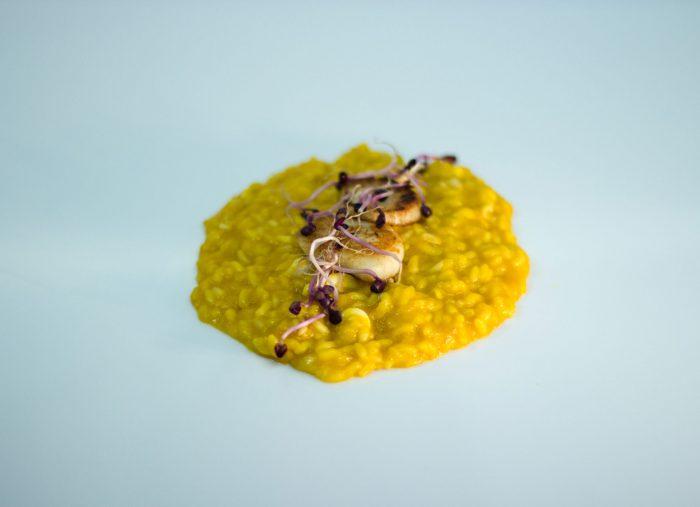 Risotto mantecato, crema di zucca trombetta e capesante arrostite